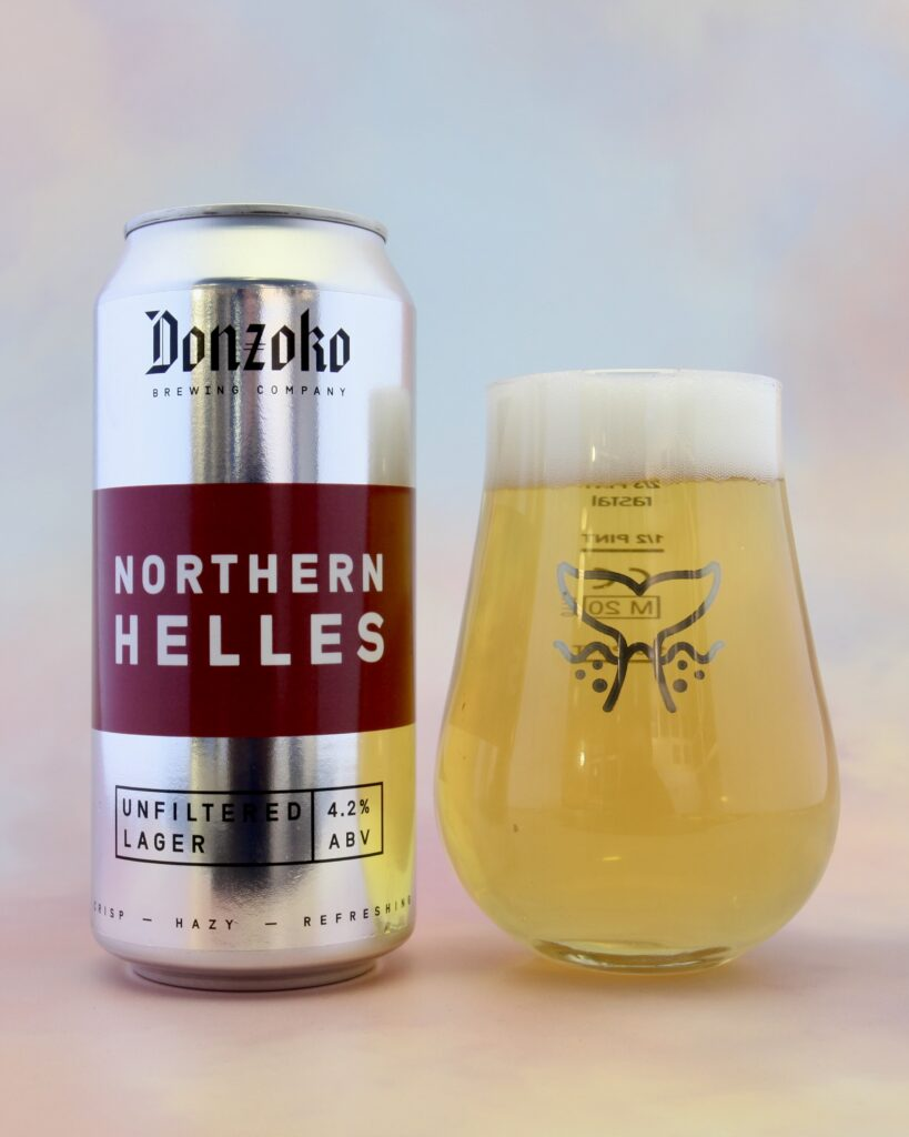 Donzoko Northern Helles Lager in a Ghost Whale glass.